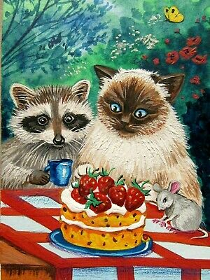 Original Painting Aceo Ryta Art Raccoon  Ragdoll Cat Mouse Strawberry Cake Tea
