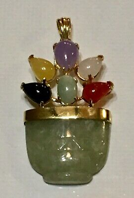 Vint Nephrite Multi Color Jade 14k 585 Y Gold Flower Basket Pendant Necklace VGC