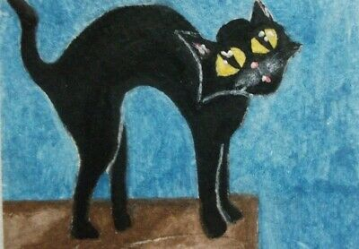 ORIGINAL ACEO painting Halloween Cat watercolor animal miniature Art signed