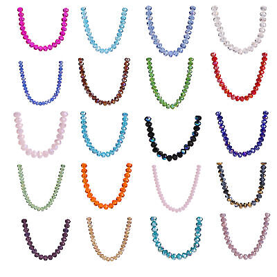 8mm 50/200pcs Glass Crystal Faceted Rondelle Spacer Loose Beads Wholesale