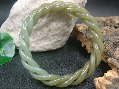 Antique Chinese Celadon Nephrite Hetian- jade bangle 3-Twisted wire bracelet