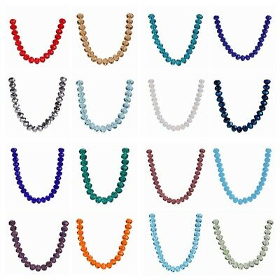 200pcs Craft Glass Crystal Faceted 8mm Rondelle Spacer Loose Beads Wholesale