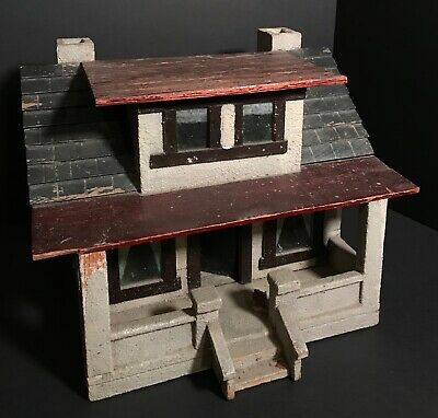 Unique Craftsman Model Wood With Faux Stucco House,Probably Ohio,Circa 1940,Excl