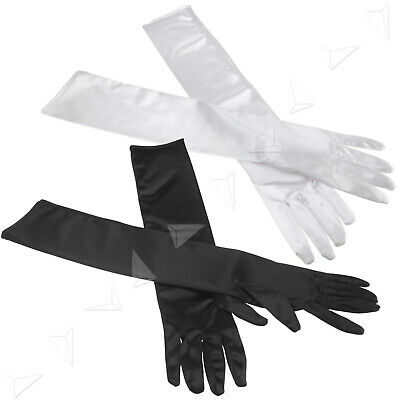 Womens Long White Satin Elbow Length Gloves Dress Up Evening Party Finger