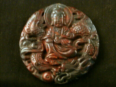 Fine Chinese Jade *KwanYin On Dragon Relief* Pendant K215
