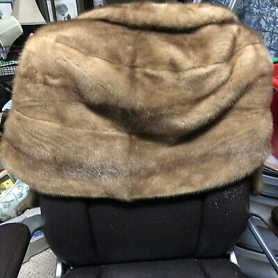 Vintage Authentic MINK FUR Shawl Wrap Cover Up Stole with Pockets Unbranded