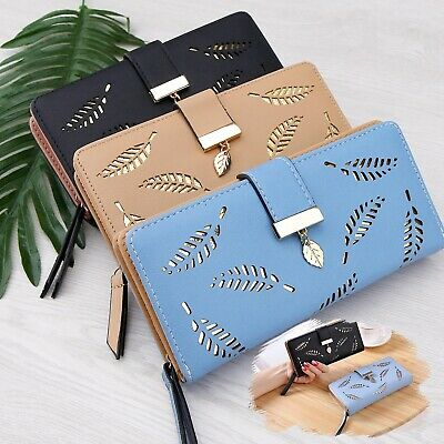 Women Long Leaf Bifold Wallet Purse Clutch Card Holder Synthetic Material Lady