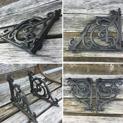 2 PCS Cast Iron Antique Style Brackets Garden Braces Rustic Shelf Bracket Black