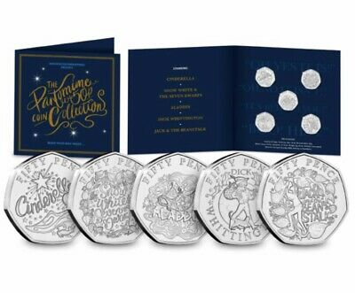 Christmas Pantomime 50p Coin Set 2019 5 X Brilliant Uncirculated Guernsey 50p's