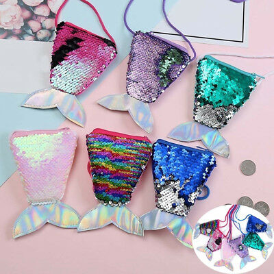 Kids Girls Mermaid Tail Sparkling Dazzling Sequins Coin Bag Party Purse Gift UK