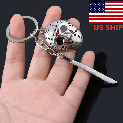 US SHIP Friday the 13th Jason Voorhees Hockey Mask Kinfe Keychain Metal Keyring