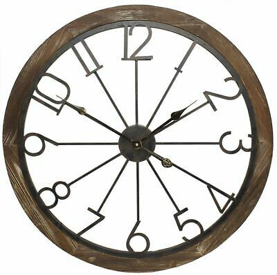 68cm Large Wood Trim Open Back Metal Decorative Wall Clock