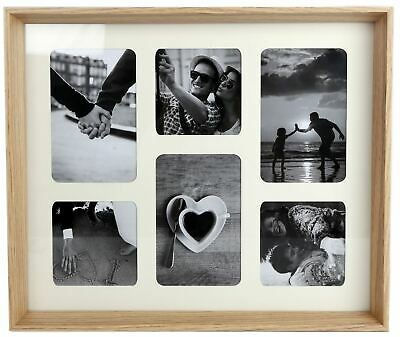 Natural Wooden Box Style 6 x Aperture Multi Photo Frame With Mount