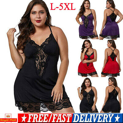 Plus Size Women Sexy Lace Mesh Pyjamas Lingerie Ladies Nightwear Pjs Sleepwear