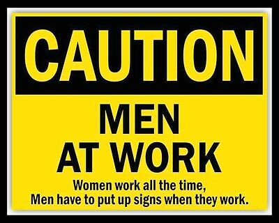 FREE SHIP   #3360   LP38 U LOT OF 2 POSTERS:SIGN:COMICAL:CAUTION WOMEN AT WORK