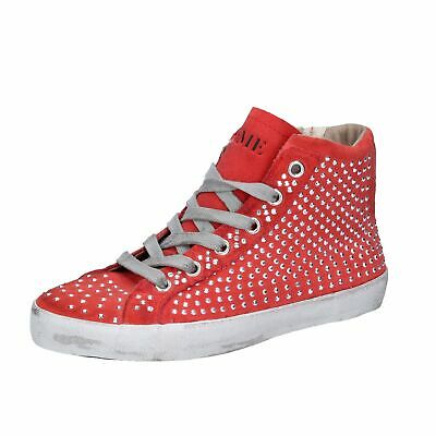 AH982 CRIME LONDON  shoes Red suede strass girl sneakers zip spring-summer EU 24
