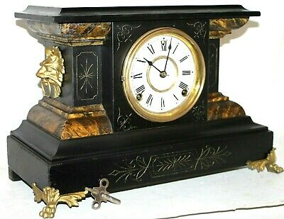 Antique E.n. Welch Ebonized Wood Mantel Clock W/ Gargoyle Handles & Paw Feet