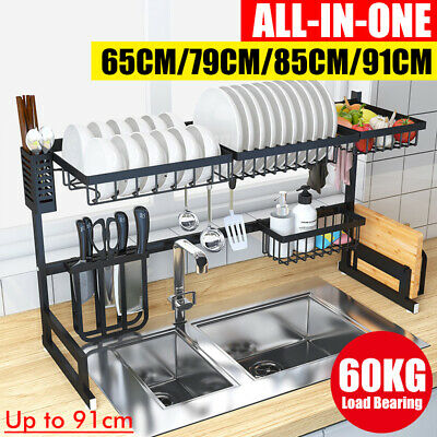 Large Over Sink Dish Drying Rack Drainer Stainless Steel Kitchen Holder Shelf