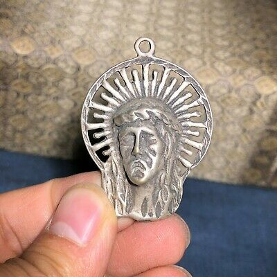 Chinese Collectible Old Tibet Silver Handwork Vintage Jesus Amulet Pendant C92