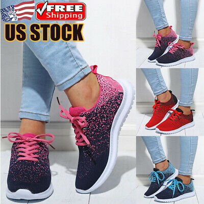 Women Gradient Mesh Breathable Sneakers Trainers Casual Sport Lace Up Shoes Size