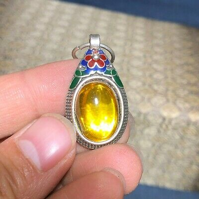 Chinese Collectible Tibet Silver Inlay Yellow Jade Handwork Vintage Pendant C92