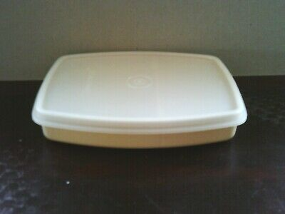 Vintage TUPPERWARE divided lunch snack container with lid - almond color