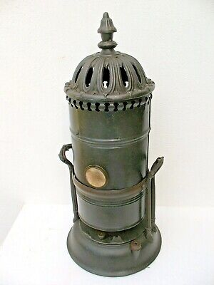 Old antique Victorian Arts & Crafts period cast iron and tin burner heater