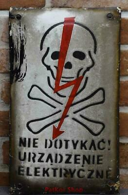 Vintage -Electricity Warning! Metal Enamel Sign /4669