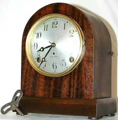 """Antique 1910'S Seth Thomas """"No.1 Leader"""" Beehive Shelf Clock W/ Cathedral Gong."""