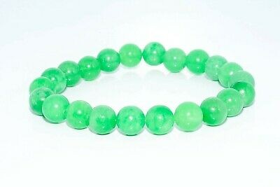 $300 103.73Ct Natural Round Cut Green Jade Stretchy Bracelet