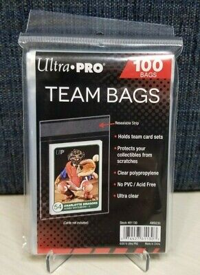 100 Ultra Pro Team Bags Resealable Sleeves Holds Card Sets and Top Loaders