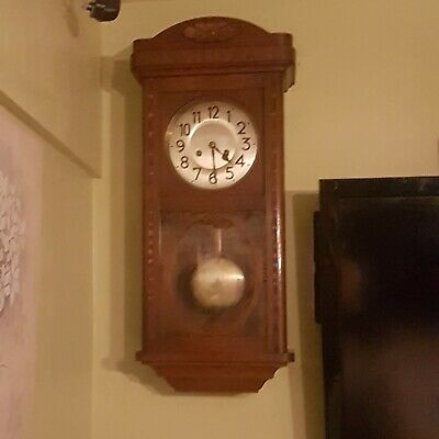 Antique Wooden cased Junghans striking Wall Clock 1920