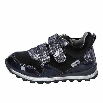 BR255 ENRICO COVERI  shoes black velvet synthetic leather girl sneakers velcro a