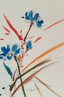 """JOSE TRUJILLO MODERN  Blue Flowers ABSTRACT Watercolor PAINTING SIGNED - 6X9"""""""