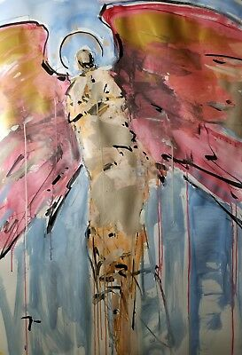 """JOSE TRUJILLO Angel Wings Expressionism Abstract 30x40"""" Large Modern Acrylic Art"""