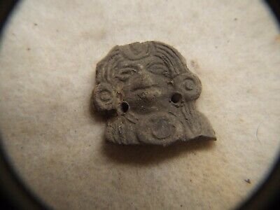 RARE Pre Columbian  500AD TO 1000AD CLAY  FIGURE HEAD LOT #19 PENDENT