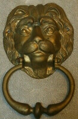 Front Door Knocker Lion Head Vintage Antique Brass