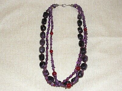 Lee Sands 3 Strand Amethyst and Carnelian Bead and Chip Necklace 50cm Long
