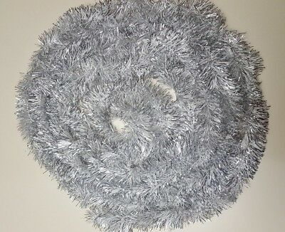 Holiday Time Christmas Tree Tinsel Garland Silver & White One Strand