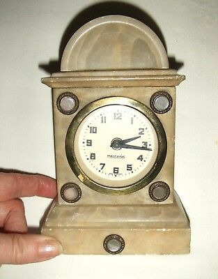 Small Vintage/Antique Marble/Onyx/Alabaster German Mantle Clock