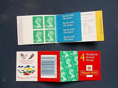 GR1 4 X 63p DECIMAL MACHIN DEFINITIVE BARCODE BOOKLET AIRMAIL OLYMPIC