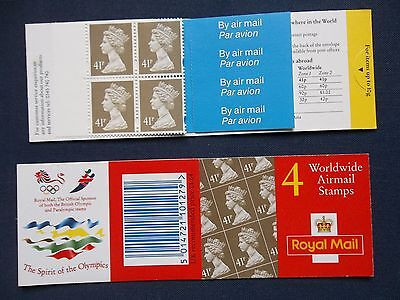 GN3 4 X 41p DECIMAL MACHIN DEFINITIVE BARCODE BOOKLET AIRMAIL OLYMPIC
