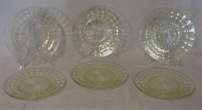 Set of (6) Anchor Hocking Depression Glass Block Optic Yellow Round Salad Plates