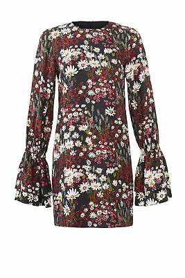 Mother of Pearl Women's Dress Black Size 8 Sheath Floral Print $595- #505