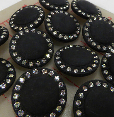 "36 vintage Czech buttons matte black glass shank rhinestone 456 7/8"" 22mm"