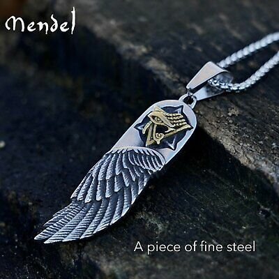 MENDEL Mens Egyptian Eye of Horus Angel Wing Pendant Necklace Stainless Steel