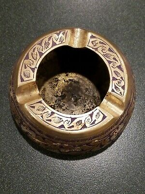 VINTAGE HANDMADE DAMASCUS SYRIAN Solid Brass Etched Antique Piece Very Rare