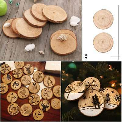30X Unfinished Natural Wood Slices Wooden Circles Crafts Christmas Ornaments DIY