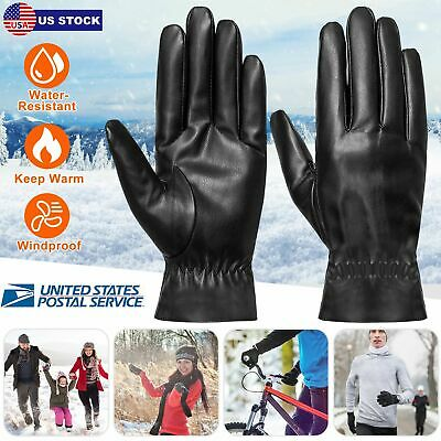 Unisex Leather Winter Warm Gloves Outdoor Windproof Soft Gloves Cycling Skiing