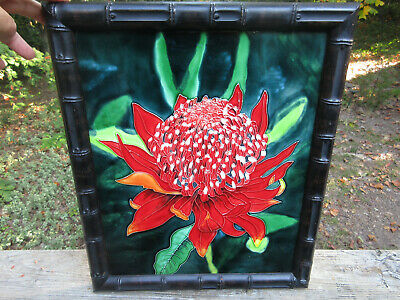 """GIANT Antique Tile Floral Flower Embossed Majolica 15.5"""" x 12.5"""" Red & Green"""
